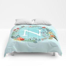 Personalized Monogram Initial Letter N Blue Watercolor Flower Wreath Artwork Comforters