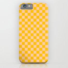 Deep Peach Orange and Amber Orange Checkerboard iPhone Case