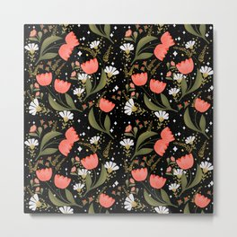 Red tulips pattern in black background  Metal Print
