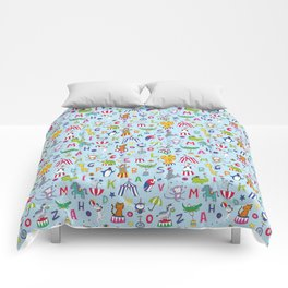 Circus Animal Alphabet - multi on pale blue Comforters