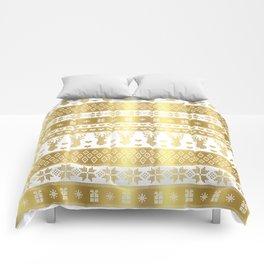 Nordic fair isle christmas pattern gold Comforters