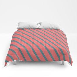 Living Coral Diagonal Stripes Comforters