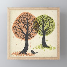 Autumn Is For The Birds Stamped Linocut Framed Mini Art Print