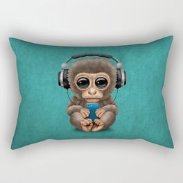 Cute Baby Monkey With Cell Phone Wearing Headphones Blue Rectangular Pillow