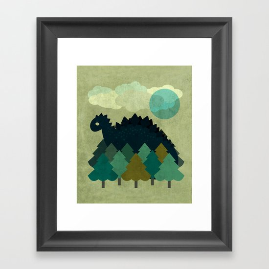 BLUE DINO Framed Art Print
