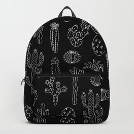 Cactus Silhouette White And Black Backpack