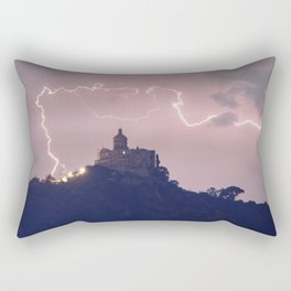 Amazing lightning around the church Rectangular Pillow