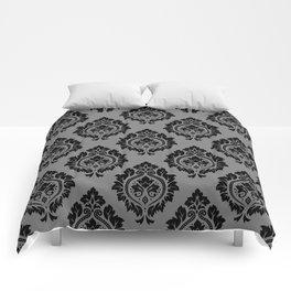 Decorative Damask Pattern Black on Gray Comforters
