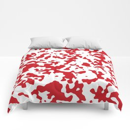 Spots - White and Fire Engine Red Comforters