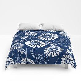 Vintage Flowers on Deep Blue Comforters