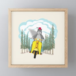 Squirrel on a Scooter Framed Mini Art Print