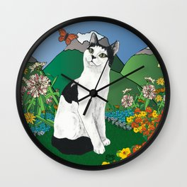 Black and White Cat in the garden - Alfie Chinacat by Nina lyman Wall Clock