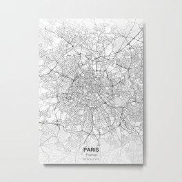 Paris france city map white Metal Print