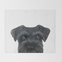 Black Schnauzer, Dog illustration original painting print Throw Blanket