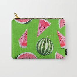 Watermelon Pattern with Green Background Carry-All Pouch