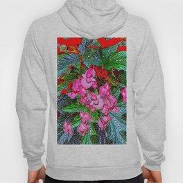 RED ART ANGEL WING PINK BEGONIA FLOWERS Hoody
