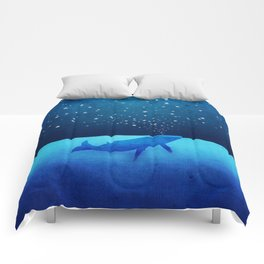 Whale Spouting Stars - Magical & Surreal Comforters