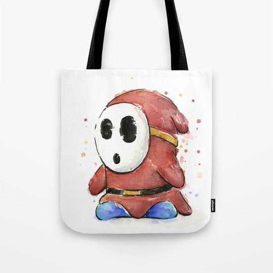 Shy Guy Watercolor Mario Art Tote Bag