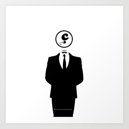 Anonymous / White / Blanc / Les Hameçons Cibles Art Print