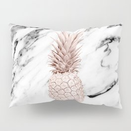 Rose Gold Pineapple on Black and White Marble Pillow Sham