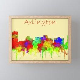 Arlington city skyline watercolor Framed Mini Art Print