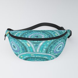 Aqua Blue Silver and Green Sparkling Glitter Circles Fanny Pack