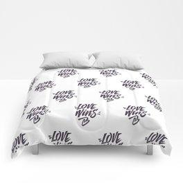 Love Wins Brush Lettering Comforters