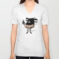 He loves coffee a lot!!!! Unisex V-Neck