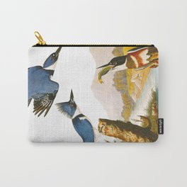 Belted Kingfisher John James Audubon Vintage Scientific Illustration American Birds Carry-All Pouch