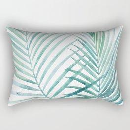 Twin Palm Fronds - Teal Rectangular Pillow