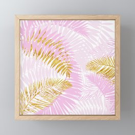 Aloha- Pink Tropical Palm Leaves and Gold Metal Foil Leaf Garden Framed Mini Art Print