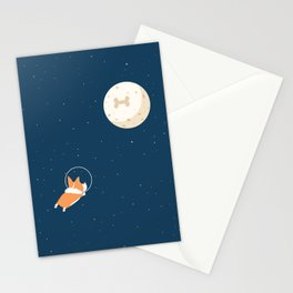 Fly to the moon _ navy blue version Stationery Cards