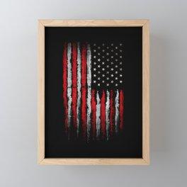 Red & white Grunge American flag Framed Mini Art Print