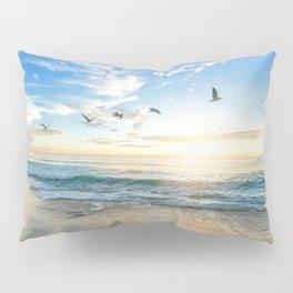 Ocean Beach Waves Sunset Photo Pillow Sham