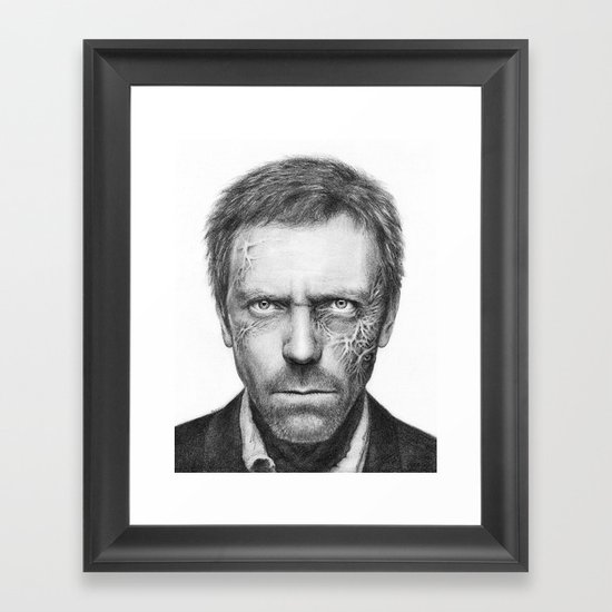 House MD Zombie Portrait Hugh Laurie Framed Art Print