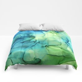 Blue Green Spring Marble Abstract Ink Painting Comforters