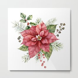Floral Christmas Poinsettia and Holly Metal Print