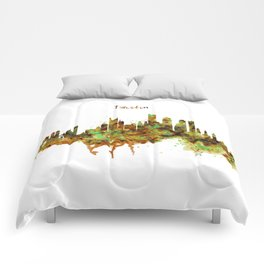 Boston watercolor skyline Comforters