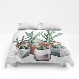 Potted Cacti + Succulents Rose Gold Comforters