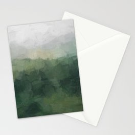 Gray Fog Green Hills Abstract Nature Scenic Painting Art Print Wall Decor  Stationery Cards