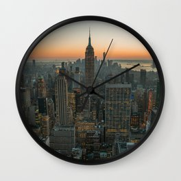 New York Skyline - Manhattan Night Wall Clock