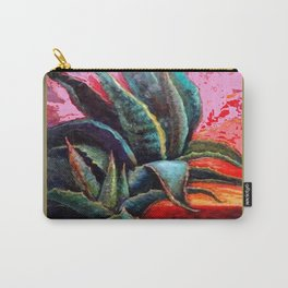 PUTTY COLOR ART DECO SOUTHWEST DESERT AGAVE Carry-All Pouch