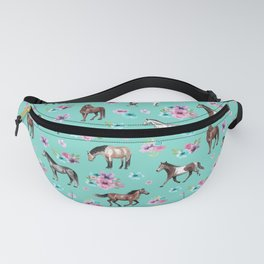 Hand drawn horses, Flower horses, Floral Pattern, Aqua Blue Fanny Pack