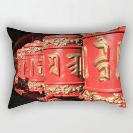 Red prayer drums row Rectangular Pillow