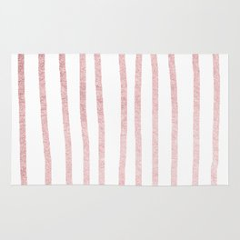 Simply Drawn Vertical Stripes in Rose Gold Sunset Rug