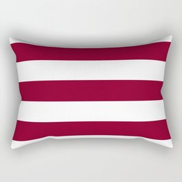 Oxblood - solid color - white stripes pattern Rectangular Pillow