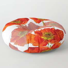 POPPY GARDEN FLOWERS ON WHITE Floor Pillow