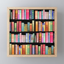 Christmas Antique Book Library for Bibliophile.bookworm, book lover, library, teachers , students, Framed Mini Art Print