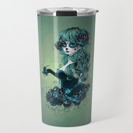 Sugar skull girl in blue Travel Mug