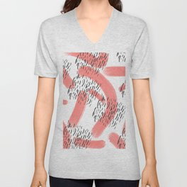 Abstract modern living coral black watercolor brushstrokes Unisex V-Neck